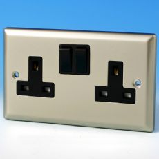 Varilight 2 Gang 13 Amp Switched Electrical Plug Socket Satin Chrome Black Insert XN5B